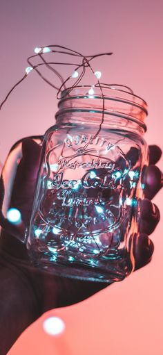 DIY Mason Jar Light It's like a galaxy inside a container. Make this DIY Mason Jar Light that's made with a miniature string light! Simple tutorial by Pop Shop America. Diy Mason Jar Lights, Mason Jar Lighting, Mason Jar Diy, Jar With Lights, Aesthetic Colors, Aesthetic Collage, Aesthetic Pictures, Aesthetic Light, Aesthetic Roses