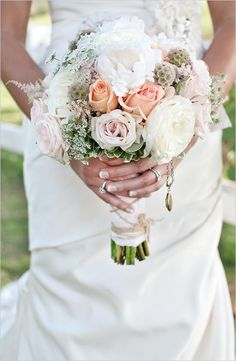 Pretty peach and white wedding bouquet, plus a locket with pictures of grandparents who couldn't be at the ceremony. Farm Wedding, Wedding Events, Dream Wedding, Wedding Day, Wedding Photos, Weddings, Peach Dress Short, Peach Dresses, White Wedding Bouquets