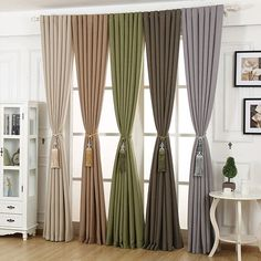 flax curtain for living room, modern thickening soild color high shading bedroom window curtain Home Curtains, Curtains With Blinds, Home Decor Hooks, Diy Home Decor, Living Room Designs, Living Room Decor, Rideaux Design, Home Design, Interior Design