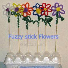 Pipe cleaner/Fuzzy stick flowers  - Pinned by @PediaStaff – Please Visit  ht.ly/63sNt for all our pediatric therapy pins