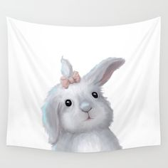 White Rabbit Girl isolated Wall Tapestry on @society6 Buy print and other product with my fine art  online:  https://society6.com/oxygen White cute bunny rabbit Digital illustration for kids isolated on white #Animals #ArtForHome #FineArtPrints #InteriorDesign #OksanaAriskina  #HomeDecor #FineArtPrint #Wall #PrintsForSale  #Illustration #Watercolor