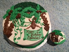 "Jungle themed buttercream cake (8"") for a baby's first birthday. ""Smash cake"" matching cupcake. Spiritual Ingredients (Nut-free) bakery White Rock, BC"