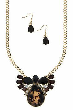 Brown Black Multistone w Tortoise Bib Statement Holiday Necklace & Earrings Set. Cyber Monday - extra 10% off already low prices on entire store.  Get the perfect gift for the Fashionista in your family!
