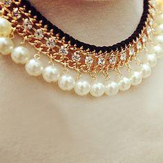 collar de diamantes de imitación de la perla