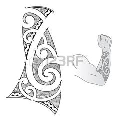 Illustration of Maori style tattoo design fit for a forearm. vector art, clipart and stock vectors. Maori Tattoo Arm, Tribal Forearm Tattoos, Tattoos Skull, Samoan Tattoo, Body Art Tattoos, Sleeve Tattoos, Tatoos, Stammestattoo Designs, Maori Tattoo Designs