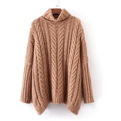 SheIn(sheinside) Cable Knit Turtleneck Oversized Sweater (€21) ❤ liked on Polyvore featuring tops, sweaters, khaki, cable turtleneck sweater, oversized sweater, cable knit turtleneck sweater, cable-knit sweater and long sleeve sweater