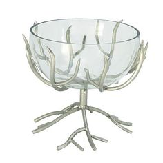 Cole & Grey Metal/Glass Bowl; Nickel