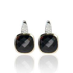 Earring 20 Diamonds 750 Gold  Ohrringe mit 20 Diamanten und kissenförmigem Granat, 750 Gold