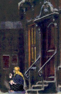 The Little Match Girl in a door