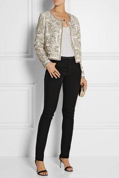 Oscar de la Renta | Embellished silk jacket + ISABEL MARANT Lecia satin-trimmed stretch-wool skinny pants