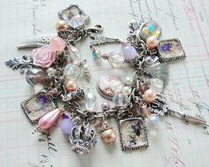 ❥ Rosey Marie Antoinette Royalty Lavender and Pink Charm Bracelet