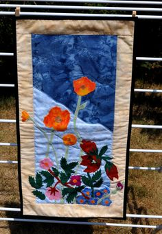 Wild flower applique quilted wall hanging