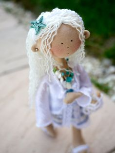 Beth Rag Doll Sea shell White Blue Nautical Home by MintyClub, £50.00