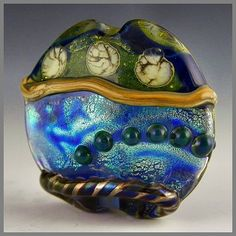 a handmade large lentil focal glass lampwork by PolychromeBeads, $28.00
