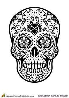 Coloriage crâne en sucre mexicain, cœur et fleurs - Hugolescargot.com