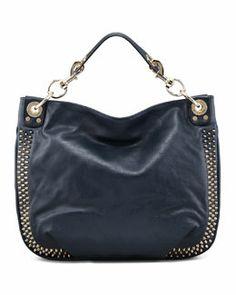 L08SW Rebecca Minkoff Luscious Mini Studded Hobo Bag, Navy