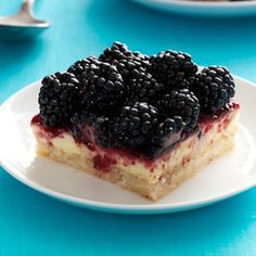 Blackberry Cheesecake Bars Recipe from Taste of Home -- shared by Terri Crandall of Gardnerville, Nevada