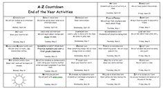 A-Z Countdown to summer vacation.  Free editable calendar