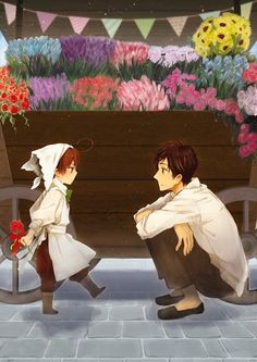Tags: Anime, Sunflower, Axis Powers: Hetalia, Tulip, Spain, Bouquet, South Italy