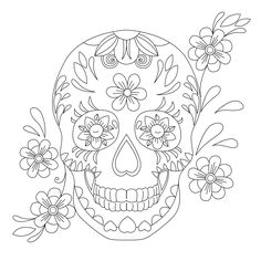 Skull Coloring Pages, Disney Coloring Pages, Colouring Pages, Coloring Books, Sugar Skull Tattoos, Sugar Skull Art, Felt Skull, Free Adult Coloring, Bullet Journal Ideas Pages