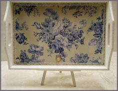 Lavendula Loveliness: Blue and white tray with sealed glass overlay by Sandra Foster.