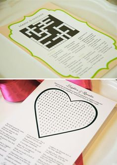 Keep the guests entertained with personalised word games