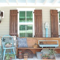 Make these DIY pallet shutters to give your home a fresh, rustic look. Pallet Shutters, Rustic Shutters, House Shutters, Window Shutters, Decks And Porches, Home Projects, Pallet Projects, Porch Decorating, Decorating Ideas