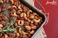 {easy!} spiced rosemary and thyme nuts - www.afarmgirlsdabbles.com made by @Brenda - a farmgirl's dabbles