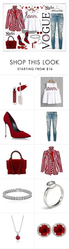 """SheIn What to wear today"" by emperormpf ❤ liked on Polyvore featuring Casadei, R13, Elena Ghisellini, Maggie Marilyn, Apples & Figs and Blue Nile"