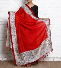 Red & Cream Printed Jute & Tussar Silk Dupatta