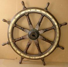 - Rare Wood Hub Sailing Ship Wheel - By J.S. Watson- Builder-Gainsborough - Vallejo Maritime Gallery, 18th century marine art, 19th century marine antiques, 19th century marine art, 20th century marine art, Marine art, Maritime paintings.