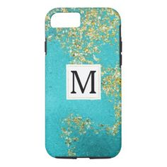 Aqua Gold Faux Sparkly Glitter Monogram iPhone 8/7 Case - monogram gifts unique design style monogrammed diy cyo customize