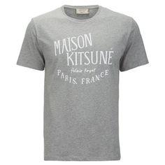 Maison Kitsune Men's Palais Royal T-Shirt - Grey Melange (3,230 PHP) ❤ liked on Polyvore featuring men's fashion, men's clothing, men's shirts, men's t-shirts, grey, mens grey t shirt, mens leopard print t shirt, mens grey shirt, mens gray dress shirt and mens cotton shirts