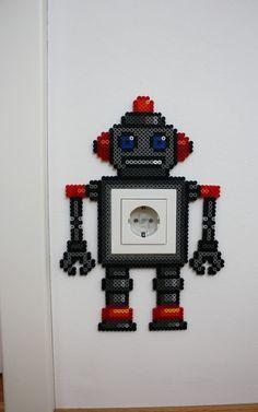 Robot light switch frame hama beads by Heissgeliebt - Party Ideas Perler Bead Designs, Diy Perler Beads, Perler Bead Art, Pearler Beads, Fuse Beads, Hama Beads Patterns, Beading Patterns, Bead Crafts, Diy And Crafts