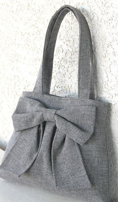 RESERVED for ASHLEY Medium Gray Bow Bag / di peacelovenpolkadots