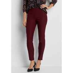 maurices The Smart Pull On Skinny Ankle Pant In Rich Merlot, Women's, ($34) ❤ liked on Polyvore featuring pants, viscose pants, pull on pants, skinny ankle pants, pull on trousers and maurices