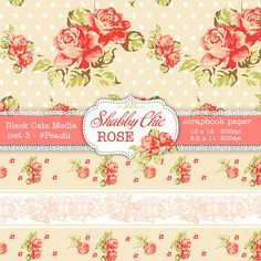 Shabby Chic Digital paper 12 x 12 in AND 8.5x11 by BlackCatsMedia