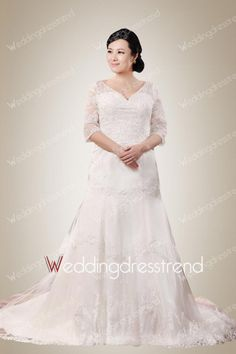Retro V-neck Beaded Plus Size Wedding Dress with Buttons