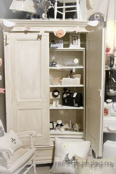 chalk paint and glaze armoire--this could look great on everything--makes me want to change my whole wardrobe to white and sand-colored linen.