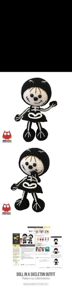 Doll In A Skeleton Outfit Amigurumi Pattern