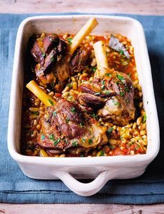 Lamb shanks and flageolet beans - Recipes - Hairy Bikers Unkempt tresses could make you Lamb Recipes, Bean Recipes, Cooking Recipes, Healthy Recipes, Cooking Time, Gourmet Cooking, Lamb Shank Recipe, Lamb Dishes, Chef Dishes