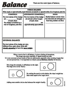 This is a one page worksheet for students, and a completed version as teacher reference.I also bundle the Elements, Principles, and Elements and Principles which saves you money on the sheets.  Please see my store for these bundles.