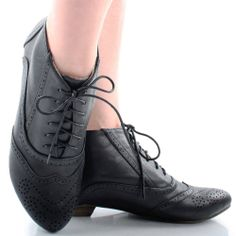Black Steampunk Lace Up Victorian Granny Perforated Womens Flat