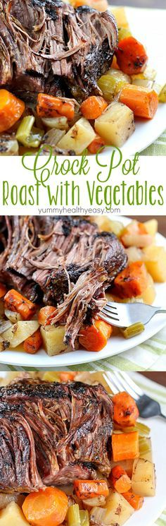 This Crock Pot Roast with Vegetables is a family favorite Sunday dinner. I love everything about this meal. It's an entire dinner in one crock pot. You have your veggies, starch and meat all cooked to (Favorite Recipes Pot Roast) Crockpot Dishes, Crock Pot Slow Cooker, Crock Pot Cooking, Slow Cooker Recipes, Cooking Recipes, Healthy Recipes, Crockpot Meals, Pot Roast In The Crockpot, Roast Beef In Slow Cooker