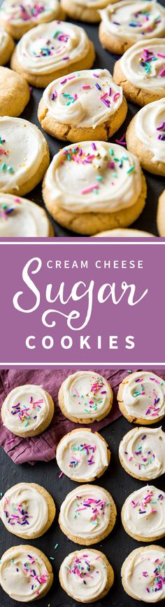 Creamy and soft cream cheese sugar cookies with vanilla frosting and birthday sprinkles! Soft sugar cookies recipe on sallysbakingaddiction.com