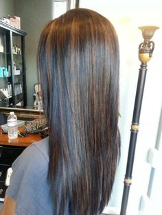 Long Black Hair With Caramel Highlights