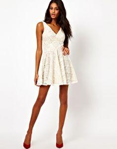 Image 4 of Elise Ryan V Neck Lace Skater Dress
