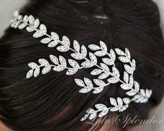 Bridal Headband Silver Rhinestone Leaves Crystal Side Tiara Wedding Hair Accessories Rhinestone Wedding Headband NEVE
