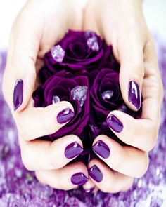 Love the deep purple nails.