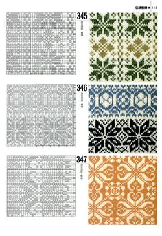 """an entire page of """"norwegian patterns"""" for fair isle knitting Fair Isle Knitting Patterns, Knitting Charts, Knitting Stitches, Knitting Designs, Knit Patterns, Knitting Projects, Stitch Patterns, Sock Knitting, Knitting Tutorials"""